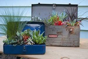 Tiestos reciclados - Cajas de herramientas viejas