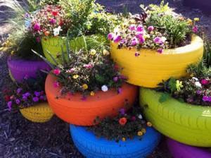 Tiestos reciclados - Neumáticos